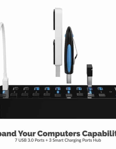 Sabrent 60W 10 Port USB 3.0 Hub